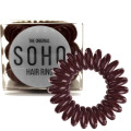 SOHO® Spiral Hair Ring Elastics, Chocolate brown - 3 pcs