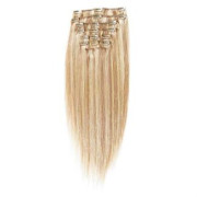 Clip on hair #27/613 50 cm Lysblond Mix
