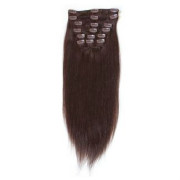 Clip on hair 40 cm #2 Mørkebrun