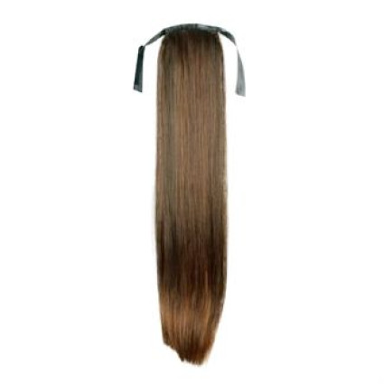 Pony tail fiber extensions straight lysebrun 6#